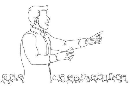 One continuous single drawn line art doodle conference, business, speech, seminar, speaker, meeting, presentation, event, audience, lecture .Isolated image of a hand drawn outline on a white background.