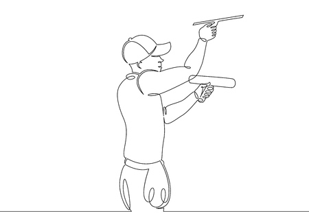 One continuous single drawn line art doodle man cleaner, window washer, glass, janitor, worker, job, mop, work, service . Isolated image  hand drawn outline  white background.