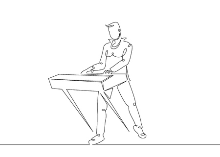 One continuous single drawn line art doodle man rock and roll, rock band, musician keyboardist, keyboard player,synthesizer, piano . Isolated image  hand drawn outline  white background.