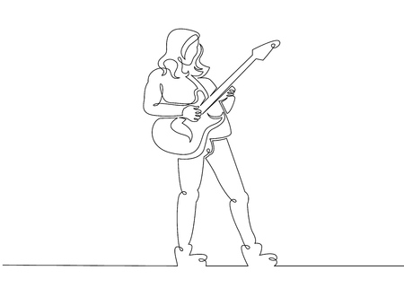 One continuous single drawn line art doodle man rock and roll, rock band, musician guitarist, solo guitarist, play guitar . Isolated image  hand drawn outline  white background.