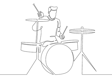 One continuous single drawn line art doodle man rock and roll, rock band, musician percussion instruments, drummer, percussion . Isolated image  hand drawn outline  white background. Illustration