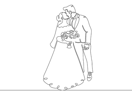 One continuous single drawn line art doodle wedding newlyweds ceremony couple love hug kiss . Isolated image of a hand drawn outline on a white background.