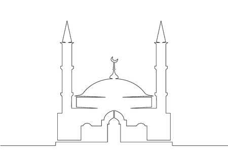 One continuous single drawn line art doodle mosque, muslim, islam, islamic, religion, arabic, architecture . Isolated image  hand drawn outline  white background.