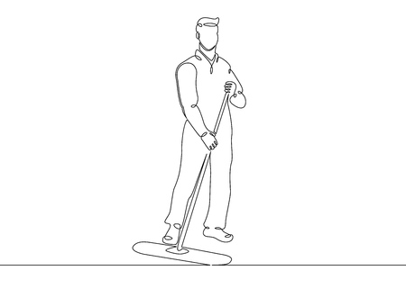 One continuous single drawn line art doodle man cleaner, janitor, worker, job, mop, work, service . Isolated image  hand drawn outline  white background.