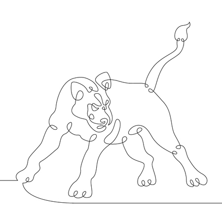 Continuous one line hand drawing lioness lion .Wild african safari animal. Vektorové ilustrace
