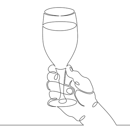 Continuous one line hand drawing hand hand with a glass of wine