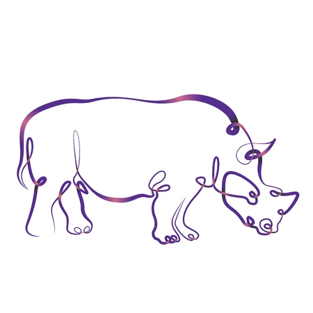 Figure brush contour.Art drawing ink contour brush. Continuous single one line hand drawing hand rhinoceros rhino.Gradient color line ribbon Illustration