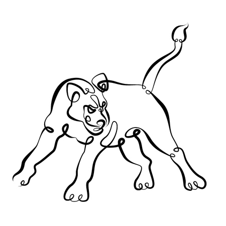 Figure brush contour.Art drawing ink contour brush. Continuous single one line hand drawing hand lioness lion