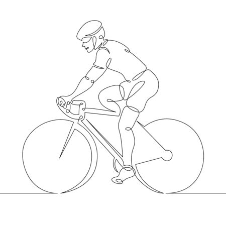 One continuous single line art doodle man cyclist cycling Illustration