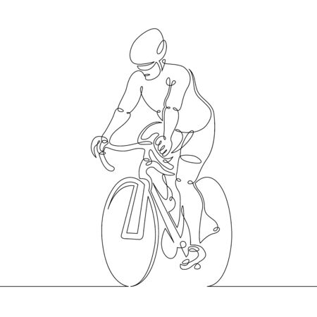 One continuous single line art doodle man cyclist cycling. Illustration