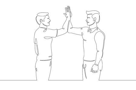 One continuous single line art doodle union friends team giving five.