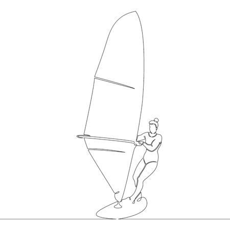 One continuous single line art doodle of a girl windsurfing.