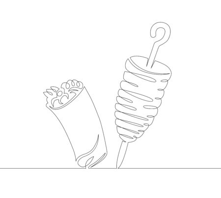One continuous single line art doodle of food. Archivio Fotografico - 128338925