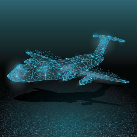 Abstract Polygonal wireframe Low poly mesh cargo  airplane transport.