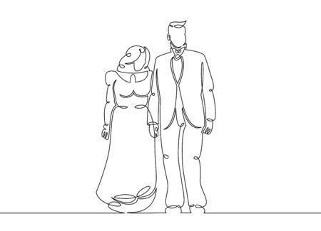 Un acteur de griffonnage d'art en ligne unique continu, deux, personnes, théâtre, homme, homme, scène, couple, jeune, femme, artiste, actrice. Image isolée main contour dessiné fond blanc