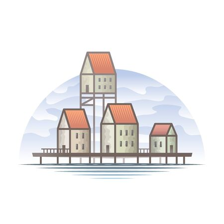 Flat vector color illustration of a northern stilt house in the water of a sea river. Stilts, house, building, sea, wooden, home, illustration, vector, travel, architecture, water, landscape