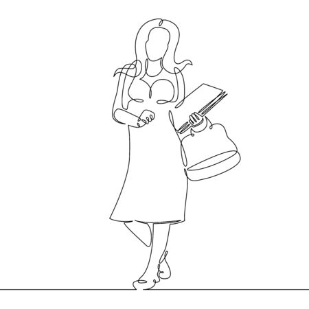 One continuous single drawn line art doodle  woman girl female student, schoolgirl, teacher, tutor with a textbook book in hands. Education concept