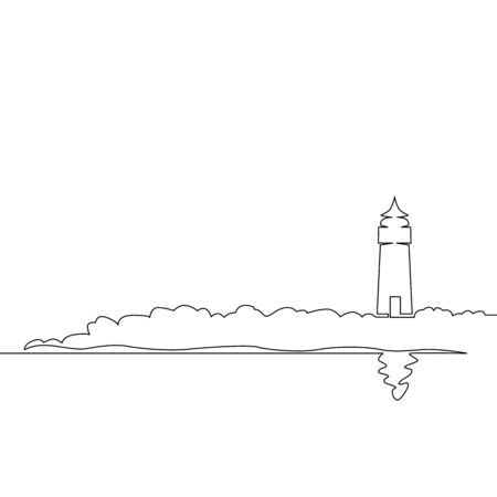 One continuous single drawn line art doodle sea, beach, lighthouse, landscape, cliff, ocean, coast, rock, tower, bay. Isolated image  hand drawn outline  white background. Vectores
