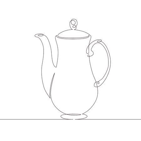 One continuous single drawn line art doodle tea, coffee, pot, teapot, drink, kettle, beverage, ceramic, cafe . Isolated image  hand drawn