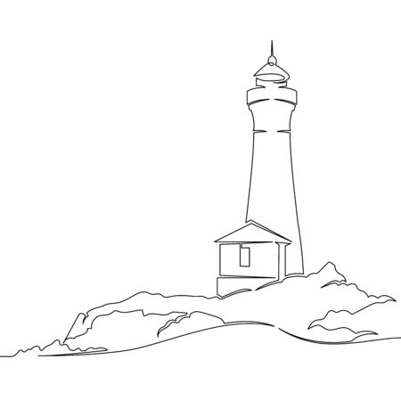 One continuous single drawn line art doodle sea, beach, lighthouse, landscape, cliff, ocean, coast, rock, tower, bay. Isolated image  hand drawn outline  white background. Çizim