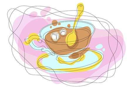 Doodle outline single continuous line contour hand drawn  silhouette isolated minimalism closed abstraction waves organic forms hot tea in a porcelain gilded cup, sugar, a golden spoon Çizim