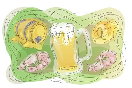 Doodle outline single continuous line contour hand drawn  silhouette isolated minimalism closed abstraction waves organic forms gradient beer set, beer mug glass, shrimp, pretzel, snack, wooden barrel of beer alcohol