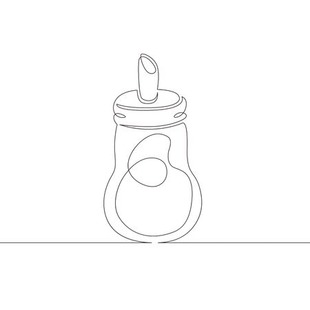One continuous single drawn line art doodle sugar bowl, sweet, crystal, ceramic, tea . Isolated image hand drawn