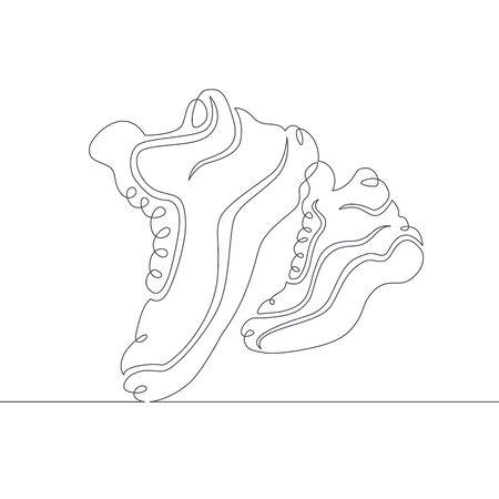 One continuous single drawn line art doodle sneaker, basketball, shoe, sport, footwear . Isolated image hand drawn Vektoros illusztráció