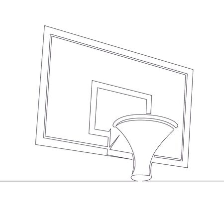 One continuous single drawn line art doodle  ring, hoop, goal, board, basketball, sport, game . Isolated image  hand drawn Stock Illustratie
