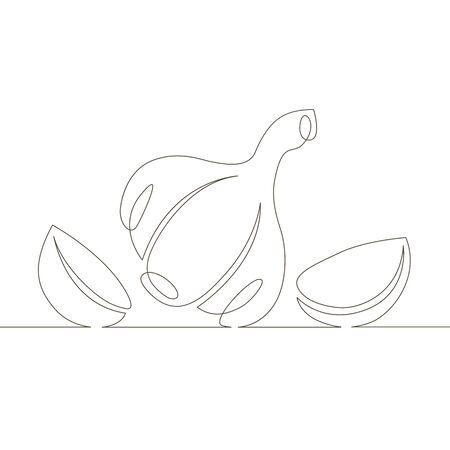 Eine durchgehende einzelne gezeichnete Linie Kunstdoodle Gemüse, Essen, Gewürz, Knoblauch. Isoliertes Bild handgezeichnet Vektorgrafik