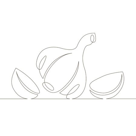 One continuous single drawn line art doodle vegetable, food, spice, garlic  . Isolated image  hand drawn