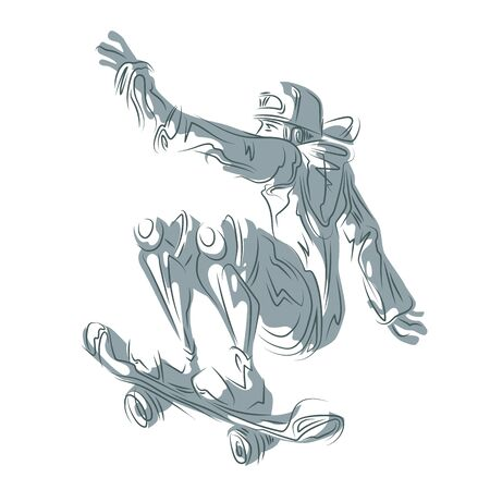 Drawing lines and shadows, sports concept. Skater in shorts and a baseball cap on a skateboard.
