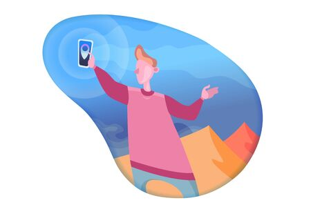 Isolated character young man holds a phone in his hand, searching for a location on a trip. .Concept of gps satellite navigation map mark pin. Flat cartoon colorful vector illustration.Cut paper gradient background Illustration