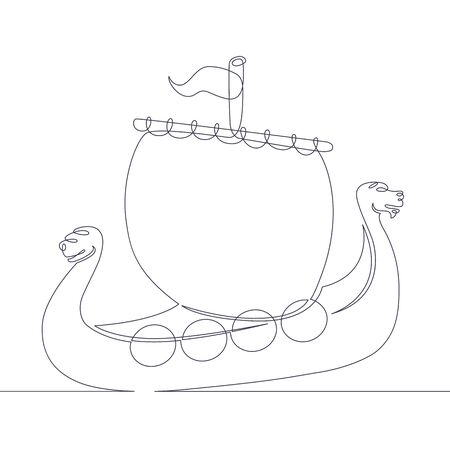 One continuous single drawn line art doodle viking ship, sailboat, medieval boat. Isolated image  hand drawn