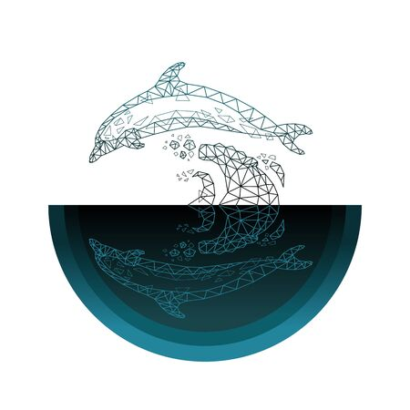 Vector illustration abstract mash line low polygonal geometric shapes wireframe dolphin jumps out of the water .Concept wildlife and marine life.Isolated poly on dark background