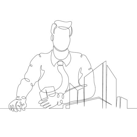 One continuous single drawn art doodle image hand outline thin line contour hand drawn silhouette architect with a house building project in his hands . Isolated image minimalism white background