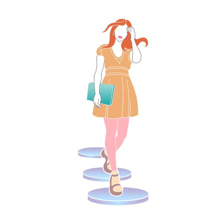 Color isolated drawn flat illustration of female character.Girl with documents goes down the stairs. Business and finance concept. Çizim