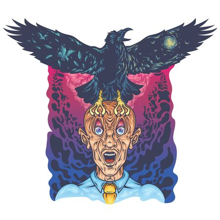 Vector color art illustration of a raven sitting on a man screaming in horror from a bald man, against a gradient background of clouds and splashing waves of human bodies.Concept for printing on t-shirts and poster. Stock Illustratie