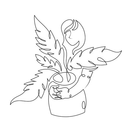 Ein kontinuierlicher, einzeln gezeichneter Kunstlinien-Minimalismus-Doodle-Agronom-Bauer, der Sprösslinge, Sämlinge hält. Isolierte Bild minimalistische Vektor-Illustration Vektorgrafik