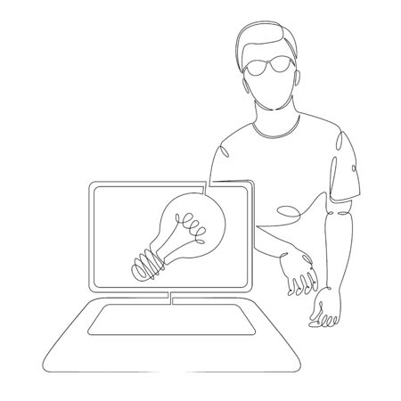 One continuous single drawn art line minimalism doodle graphic designer with laptop tablet device at work on a new idea . Isolated image minimalist vector illustration Foto de archivo - 134531288