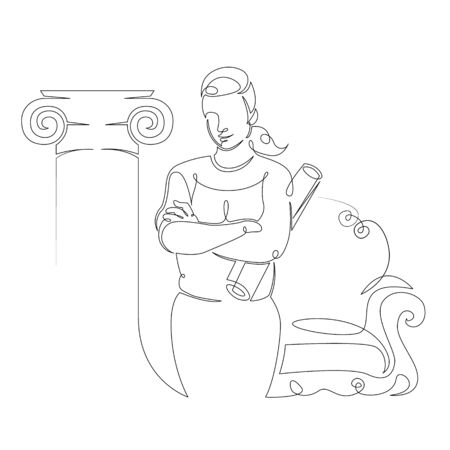 One continuous single drawn art line minimalism doodle female architect interior designer at work with sketch drawings  . Isolated image minimalist vector illustration Foto de archivo - 134531306