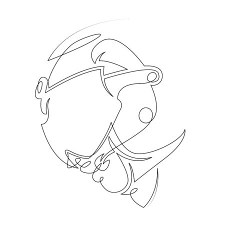 One continuous single drawn art line minimalism doodle hand character in a helmet of a military pilot. Concept of aviation and military technology. Isolated image minimalist vector illustration Ilustracja