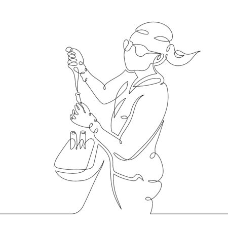 One continuous single drawn art line minimalism doodle hand biochemist in a bathrobe and glasses works in the laboratory. The concept of science and medicine. Isolated image minimalist vector illustration