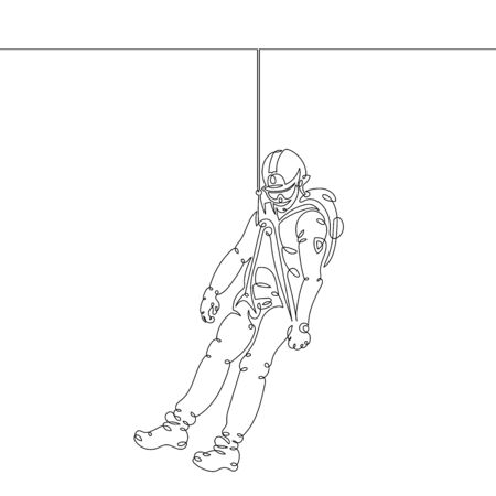 One continuous single drawn art line minimalism doodle hand lifeguard character rescuer rock climber hanging in the air on insurance ropes. Safety and first aid concept. . Isolated image minimalist ve