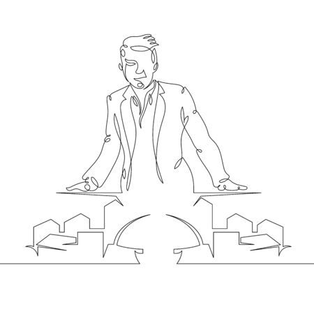 One continuous single drawn art line minimalism doodle hand architect constructor at house layout,showing house model .The concept of architecture and construction.Isolated image minimalist vector illustration Foto de archivo - 134531704