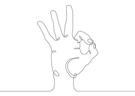 Continuous one line drawing hand palm fingers gestures. Hand showing OK gesture Banco de Imagens