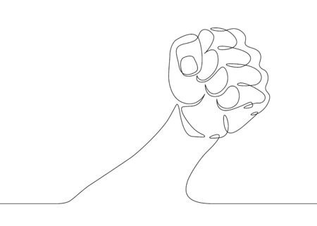 Continuous one line drawing hand palm fingers gestures.Fist gesture Banco de Imagens