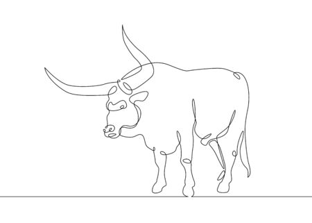 Continuous one line drawing bull cow Фото со стока