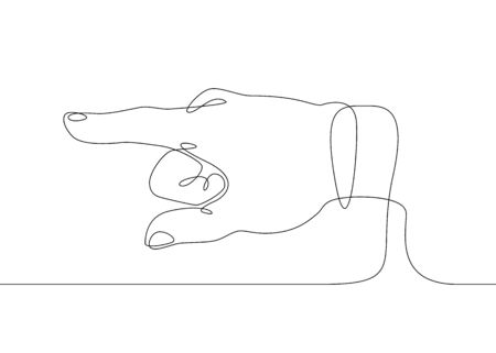 Continuous one line drawing hand palm fingers gestures. Hand pointing direction finger Banco de Imagens