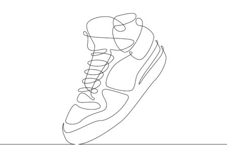 Continuous one line drawing sneakers Stok Fotoğraf